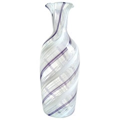 Murano White and Purple Twisting Ribbons Italian Art Glass Flower Vase