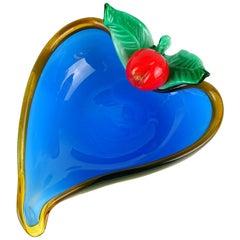 Murano White Blue Applied Cherry Italian Art Glass Heart Shape Dish Vide-Poche