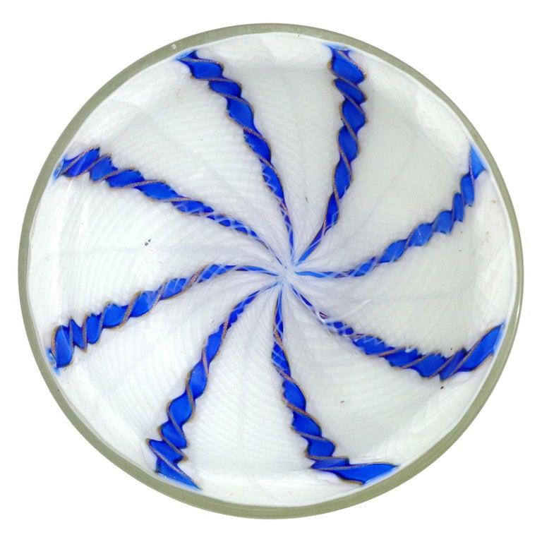 Murano White Blue Aventurine Twist Ribbons Italian Art Glass Round Dish Bowl For Sale