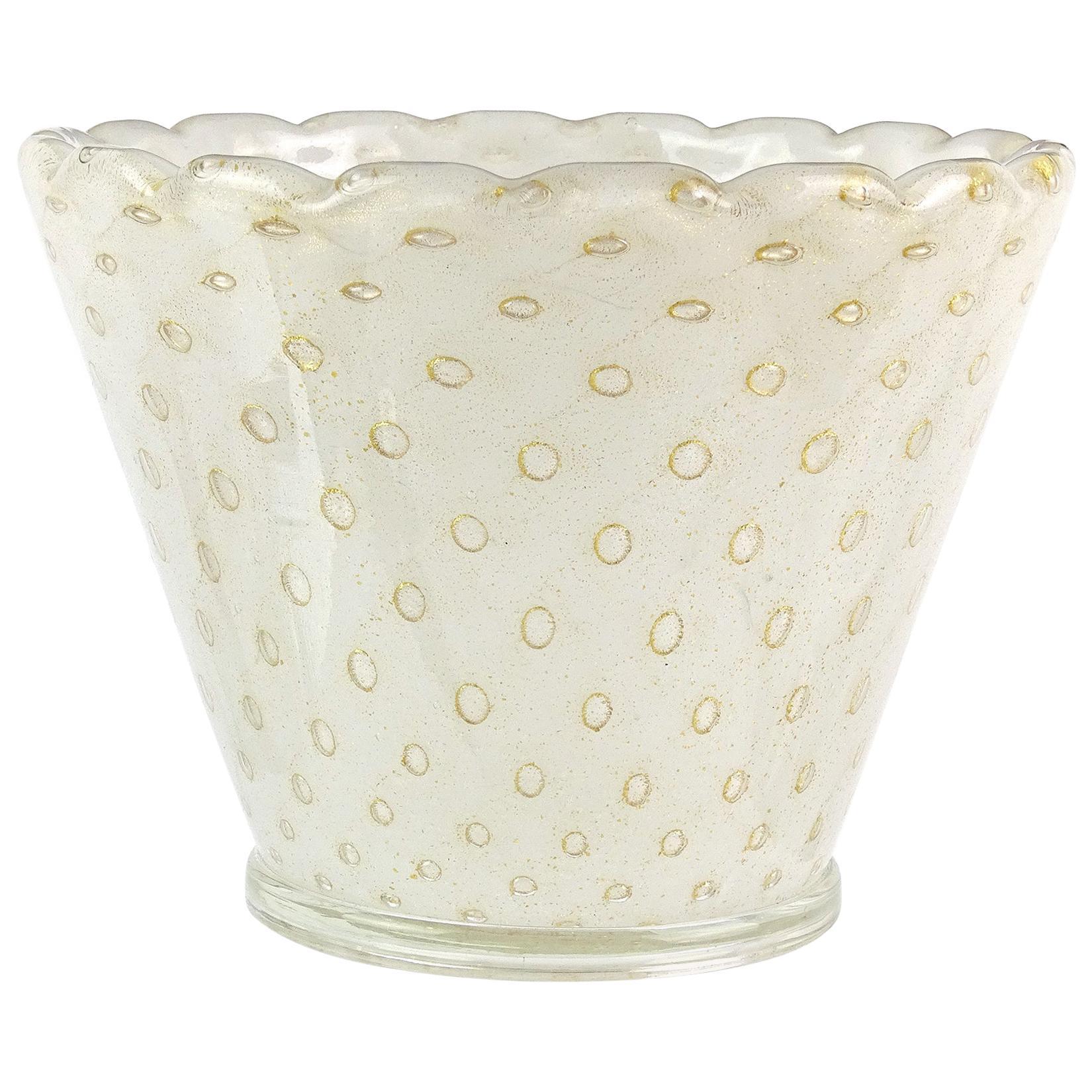 Murano White Bubbles Pulegoso Gold Flecks Italian Art Glass Flower Pot Vase