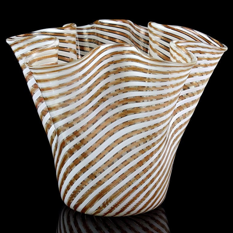 Beautiful large vintage Murano hand blown copper aventurine and white Filigrana ribbons Italian art glass fazzoletto / handkerchief flower vase. Attributed designer Dino Martens for Aureliano Toso. Great centerpiece for your table, filled with