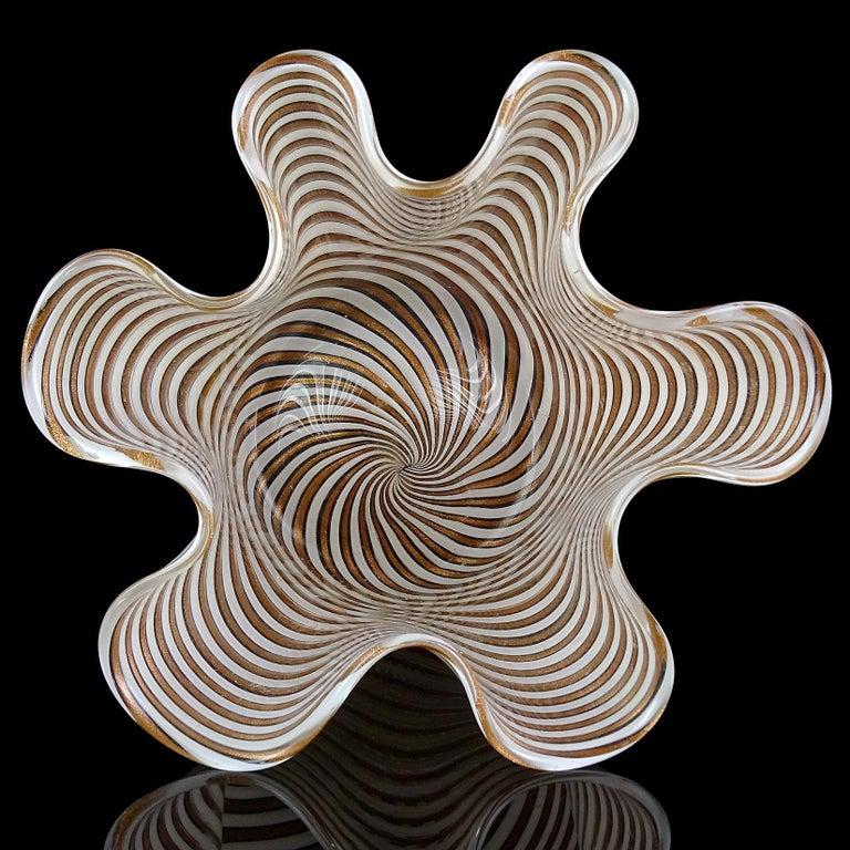 Hand-Crafted Murano White Copper Aventurine Flecks Ribbons Italian Art Glass Fazzoletto Vase For Sale