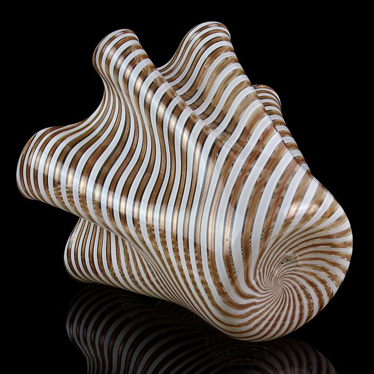 Murano White Copper Aventurine Flecks Ribbons Italian Art Glass Fazzoletto Vase For Sale 2