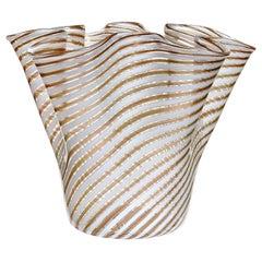 Murano White Copper Aventurine Flecks Ribbons Italian Art Glass Fazzoletto Vase