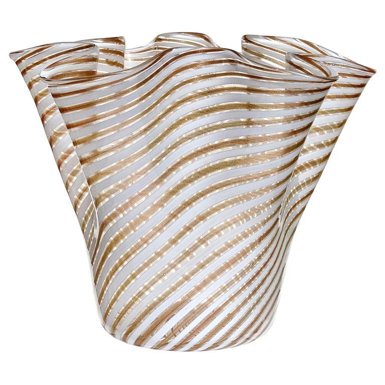 Murano White Copper Aventurine Flecks Ribbons Italian Art Glass Fazzoletto Vase For Sale