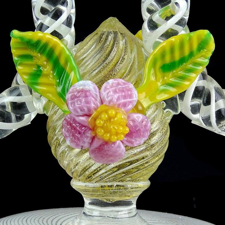 20th Century Murano White Filigrana Gold Leaf Flowers Italian Art Glass Candlestick Pair For Sale