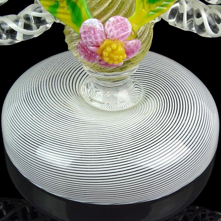 Murano White Filigrana Gold Leaf Flowers Italian Art Glass Candlestick Pair For Sale 3