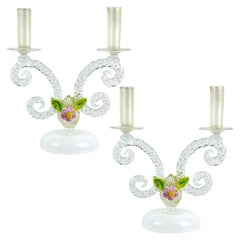 Murano White Filigrana Gold Leaf Flowers Italian Art Glass Candlestick, Pair