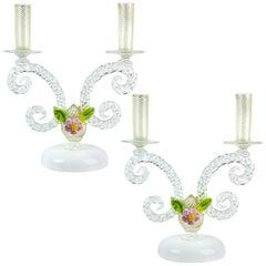Murano White Filigrana Gold Leaf Flowers Italian Art Glass Candlestick Pair