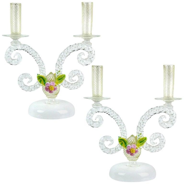 Murano White Filigrana Gold Leaf Flowers Italian Art Glass Candlestick Pair For Sale