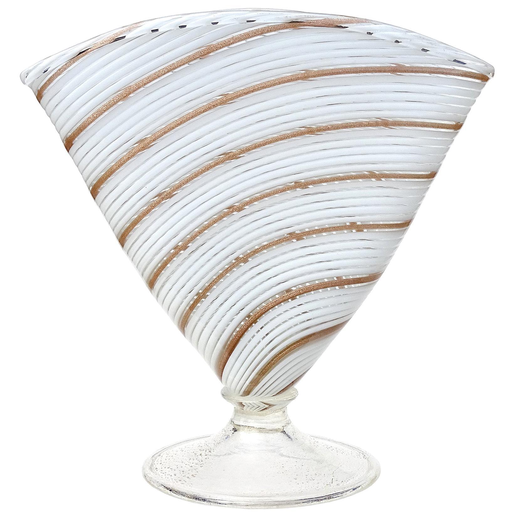 Murano White Gold Aventurine Ribbons Italian Art Glass Fan Shaped Flower Vase