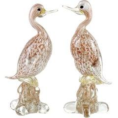 Murano White Gold Copper Aventurine Italian Art Glass Duck Bird Sculptures