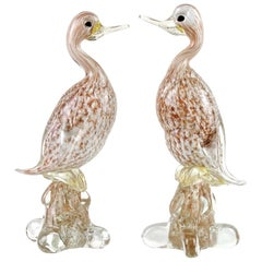 Murano White Gold Copper Aventurine Italian Art Glass Duck Bird Sculptures