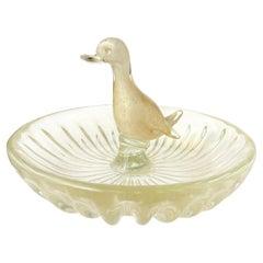 Murano White Gold Flecks Italian Art Glass Decorative Duck Jewelry Ring Bowl