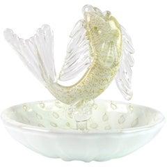 Murano White Gold Flecks Italian Art Glass Fish Decorative Ring Dish Bowl