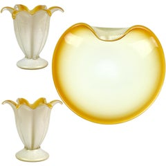 Murano White Orange Gold Flecks Italian Art Glass Flower Candlesticks Bowl Set