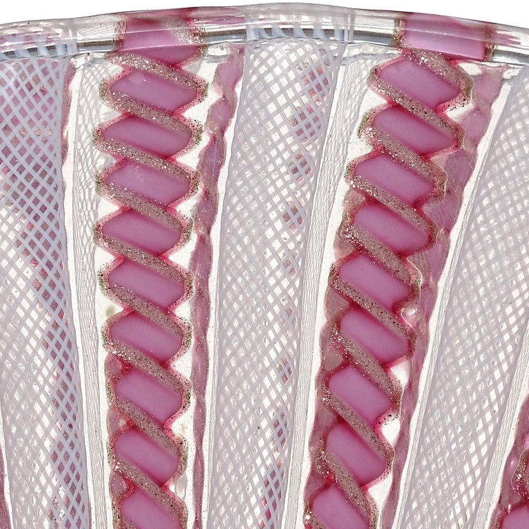 Mid-Century Modern Murano White Pink Aventurine Ribbons Italian Art Glass Fan Shaped Flower Vase