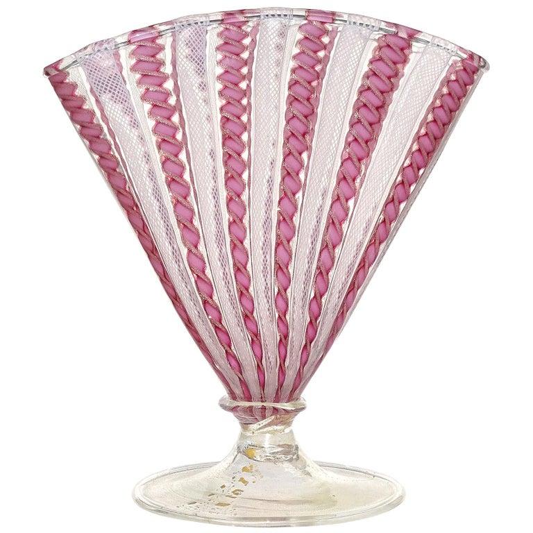 Murano White Pink Aventurine Ribbons Italian Art Glass Fan Shaped Flower Vase