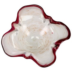 Murano White Red and Gold Dust Art Glass Bowl, Italy, 1970s