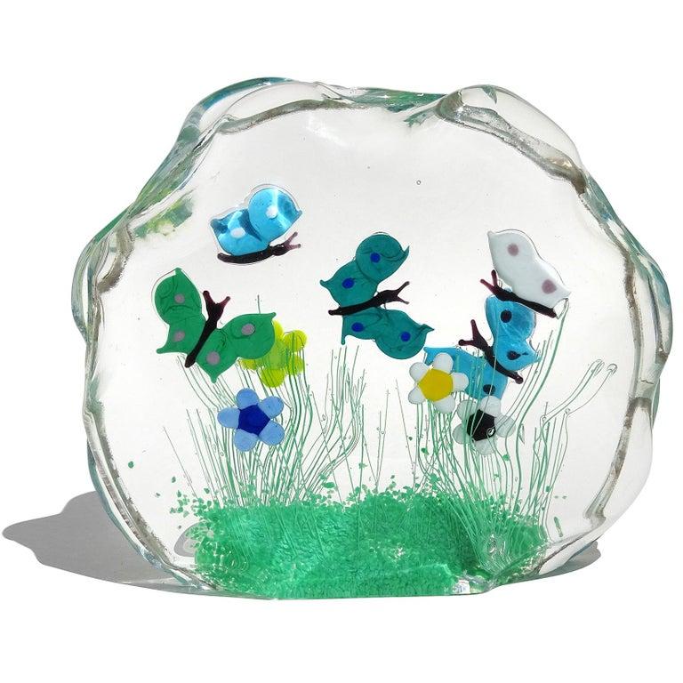 Beautiful vintage Murano hand blown butterfly Italian art glass wild flower garden sculpture. Original