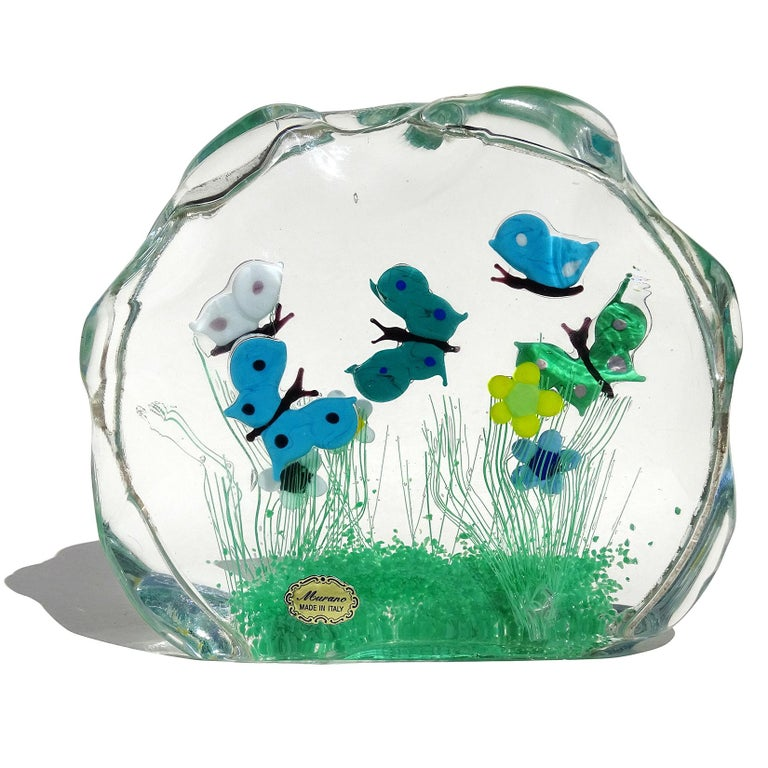 Hand-Crafted Murano Wild Flower Butterfly Garden Scene Italian Art Glass Block Sculpture For Sale