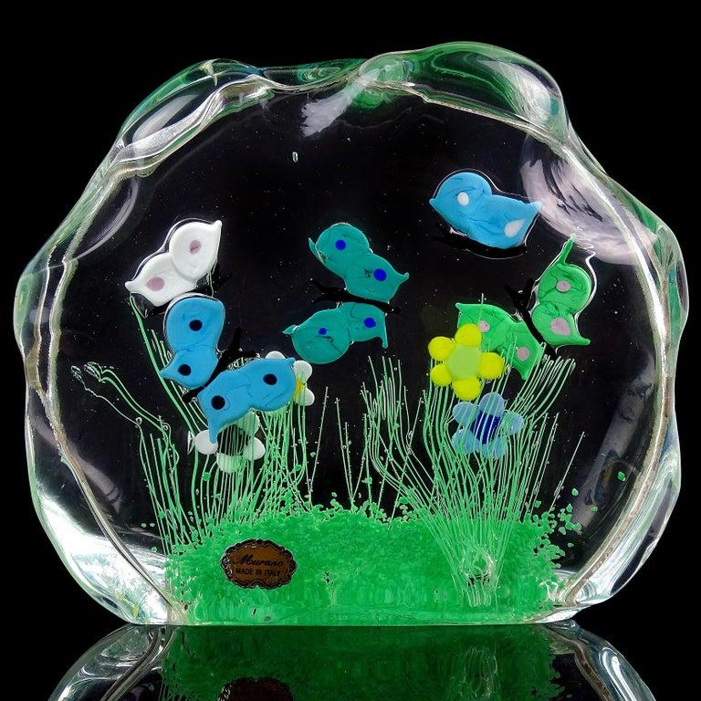 Murano Wild Flower Butterfly Garden Scene Italian Art Glass Block Sculpture In Good Condition For Sale In Kissimmee, FL