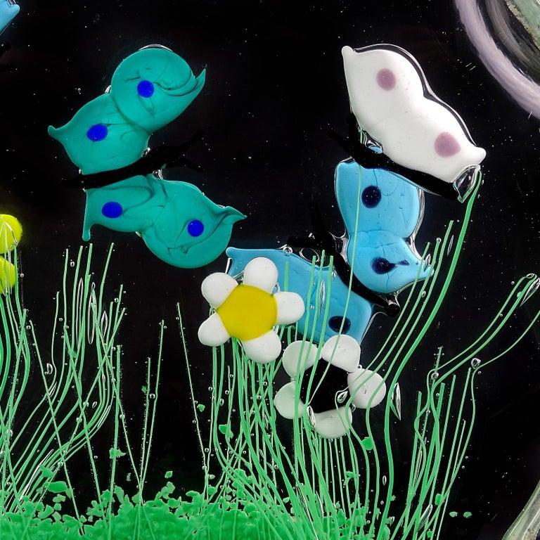 Murano Wild Flower Butterfly Garden Scene Italian Art Glass Block Sculpture For Sale 1