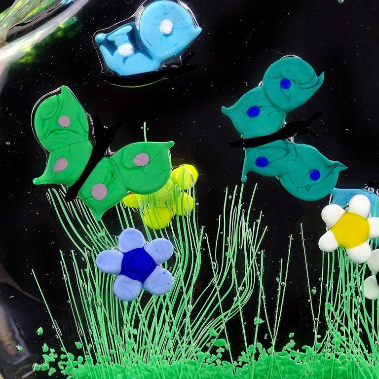 Murano Wild Flower Butterfly Garden Scene Italian Art Glass Block Sculpture For Sale 2