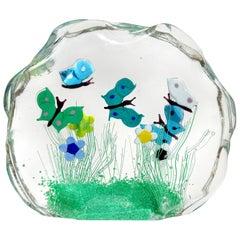 Murano Wild Flower Butterfly Garden Scene Italian Art Glass Block Sculpture