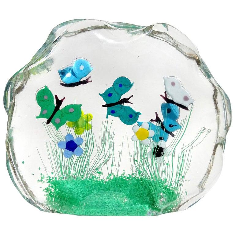 Murano Wild Flower Butterfly Garden Scene Italian Art Glass Block Sculpture For Sale