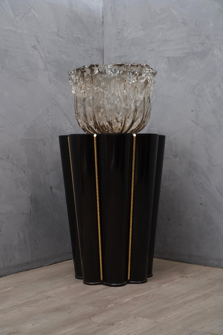 Mid-Century Modern Murano Wood, Glass and Brass Midcentury SideTables / FloorLamp, 1950 For Sale