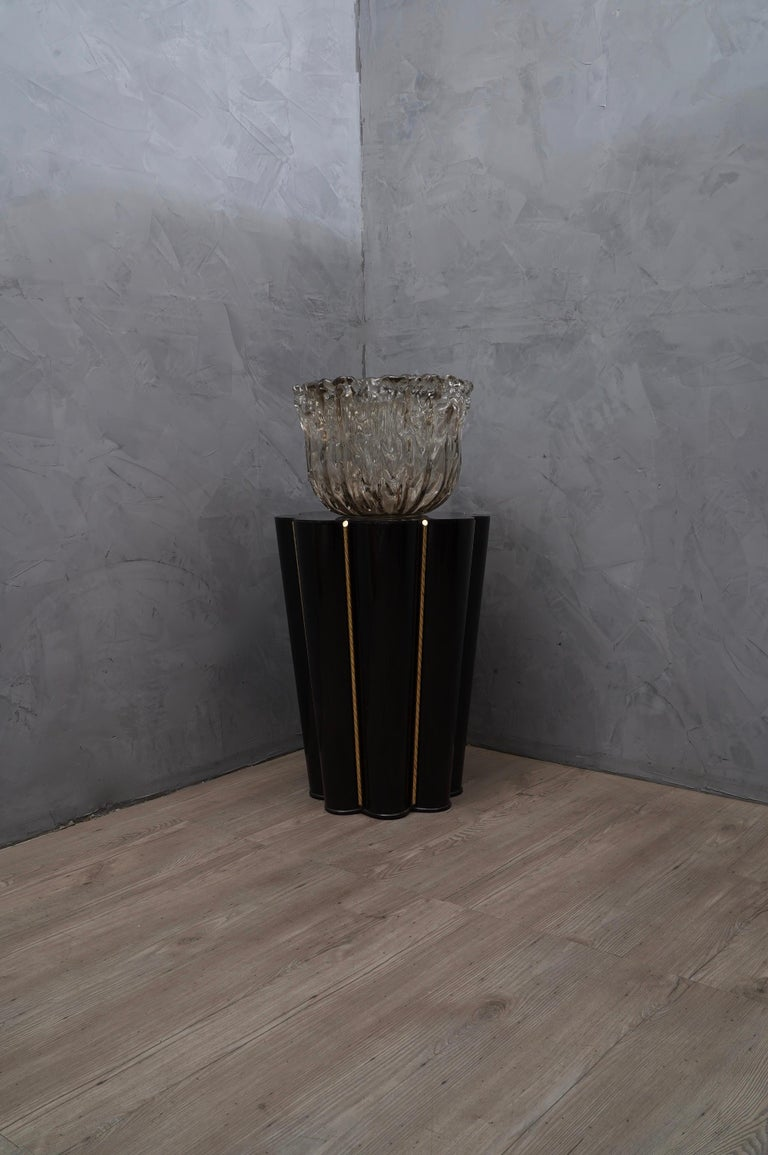 Italian Murano Wood, Glass and Brass Midcentury SideTables / FloorLamp, 1950 For Sale