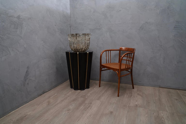 Mid-20th Century Murano Wood, Glass and Brass Midcentury SideTables / FloorLamp, 1950 For Sale