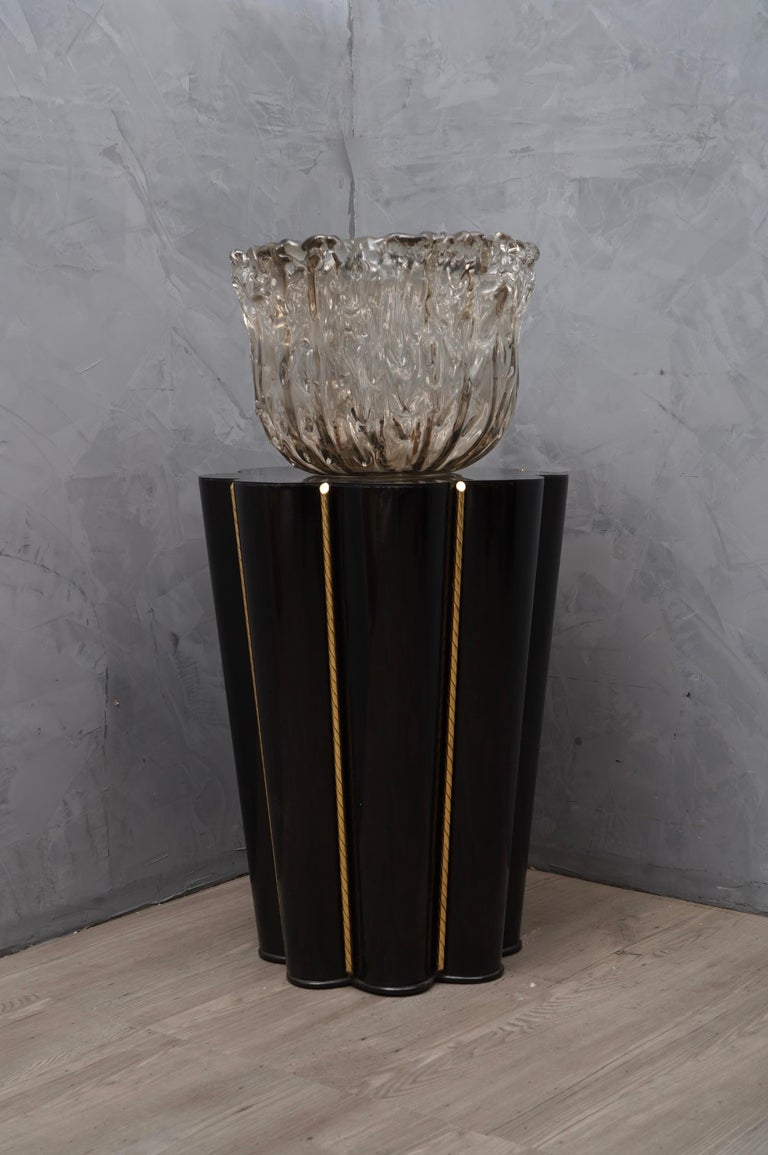 Murano Wood, Glass and Brass Midcentury SideTables / FloorLamp, 1950 For Sale 1