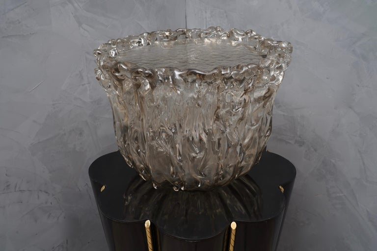 Murano Wood, Glass and Brass Midcentury SideTables / FloorLamp, 1950 For Sale 2