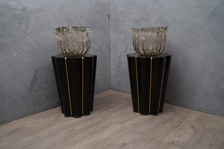 Murano Wood, Glass and Brass Midcentury SideTables / FloorLamp, 1950 For Sale 3