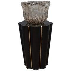 Murano Wood, Glass and Brass Midcentury SideTables / FloorLamp, 1950