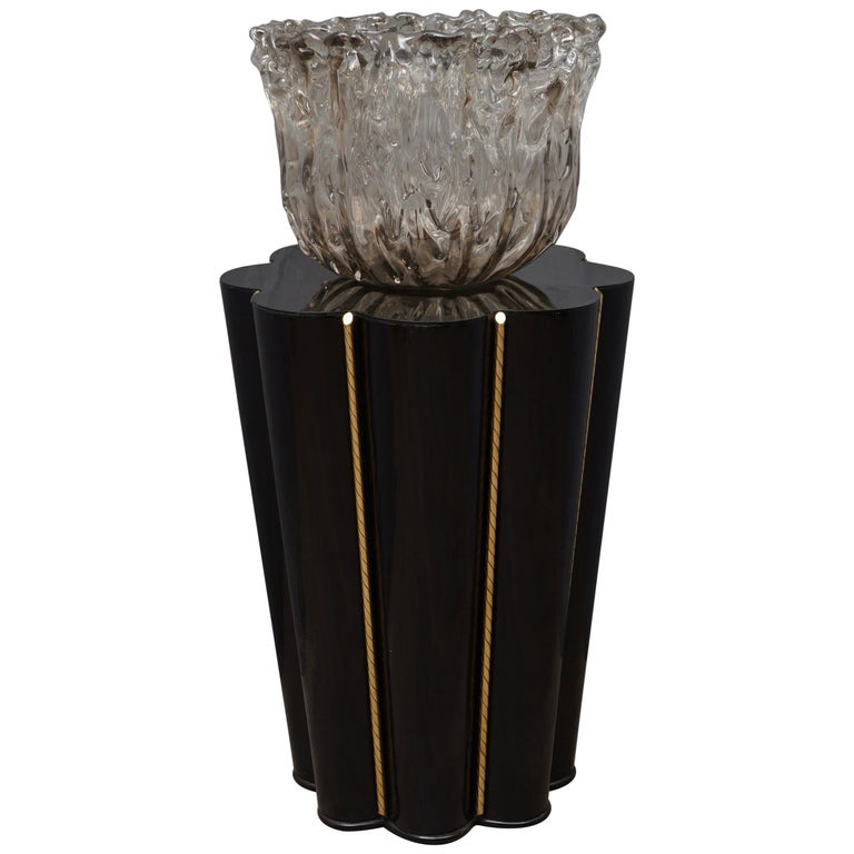 Murano Wood, Glass and Brass Midcentury SideTables / FloorLamp, 1950 For Sale