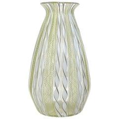 Murano Yellow White Aventurine Ribbon Italian Art Glass Mid-Century Flower Vase