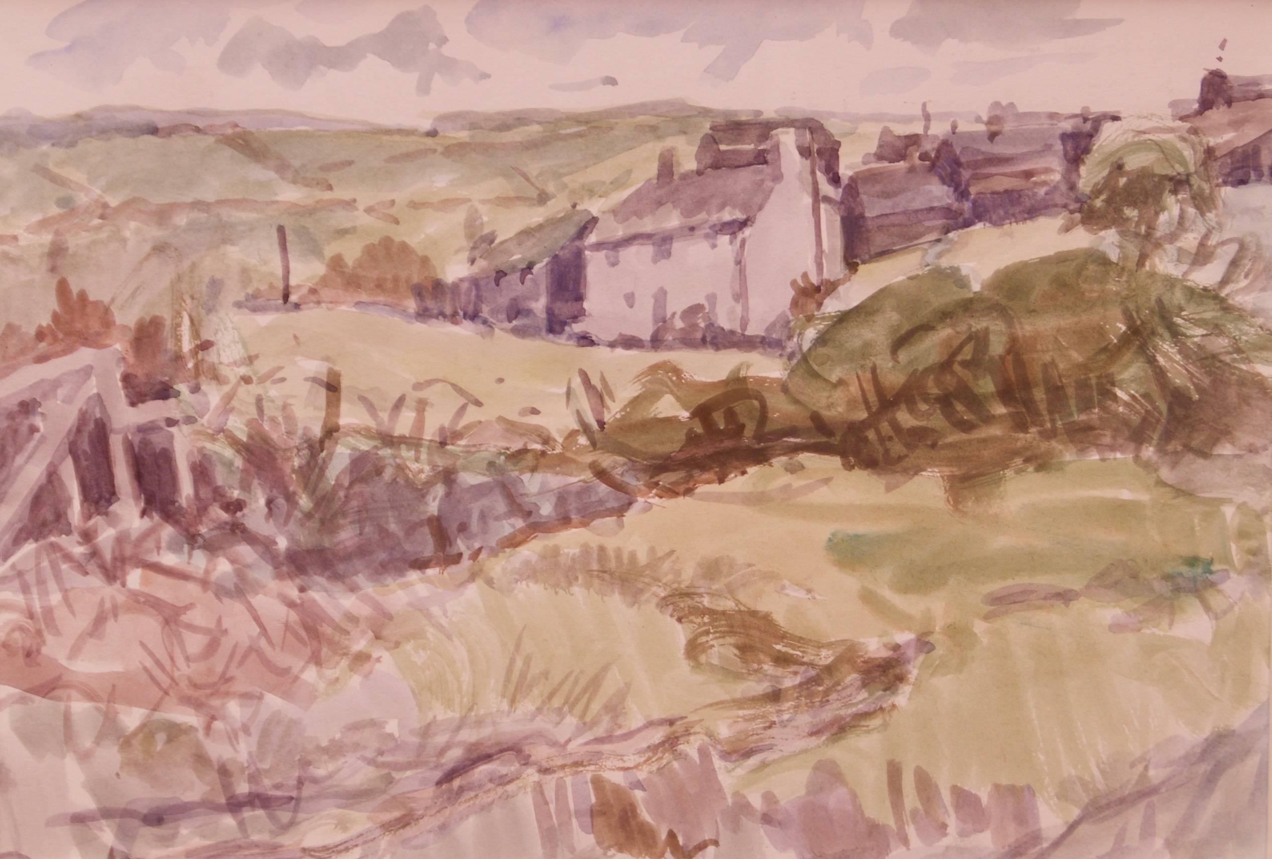 Cornish Landscape - Mid 20th Century Impressionist Watercolour by Muriel Archer