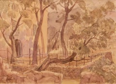 Early Morning Provence - Late 20th Century Impressionist Watercolour by Archer