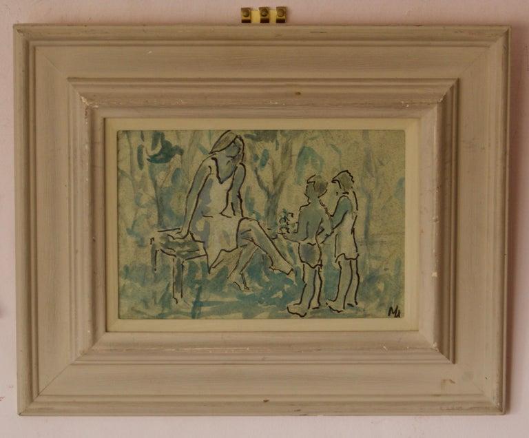Mother & Children - Mid 20th Century Impressionist Piece by Muriel Archer For Sale 1