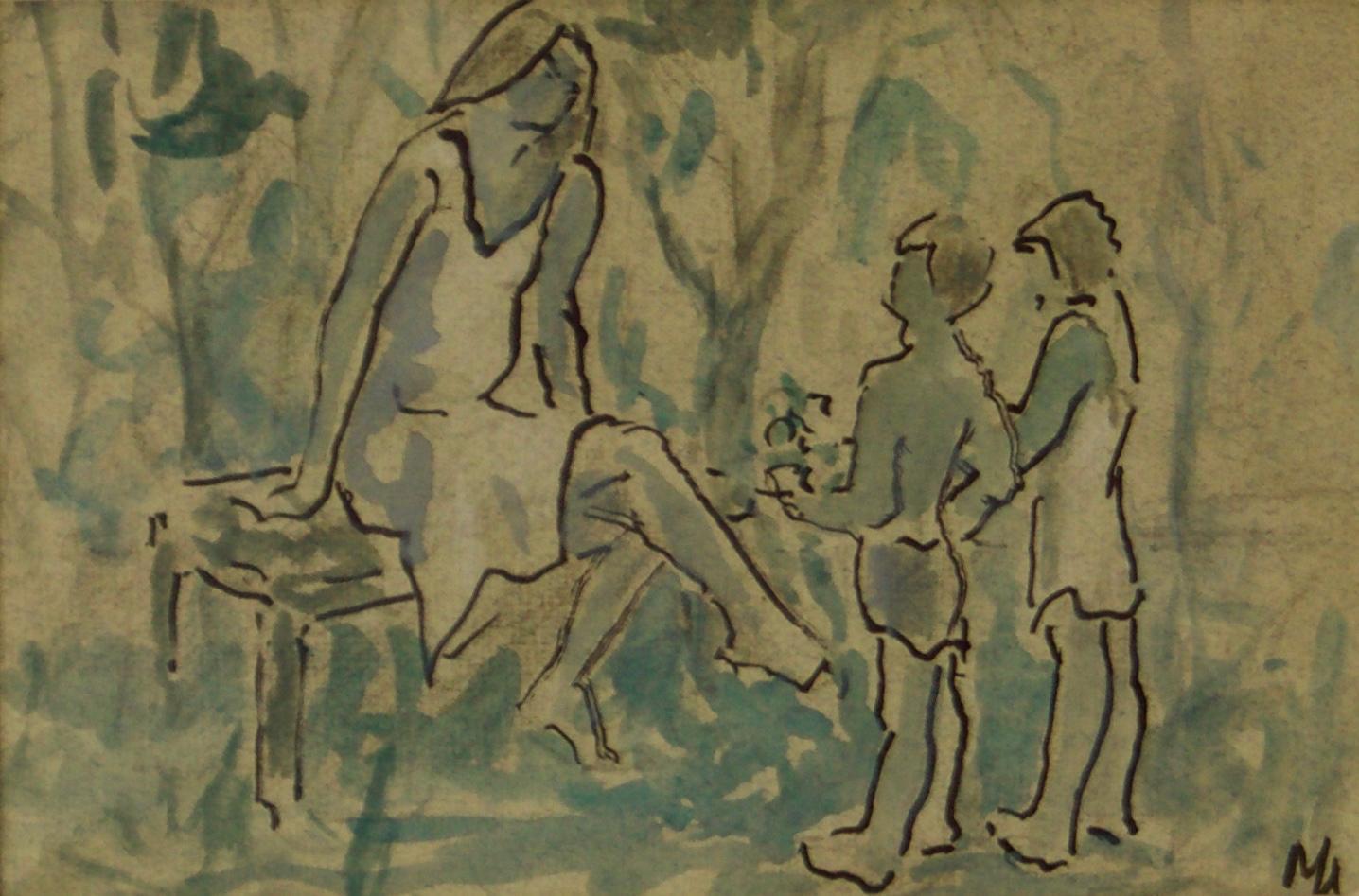 Mother & Children - Mid 20th Century Impressionist Piece by Muriel Archer