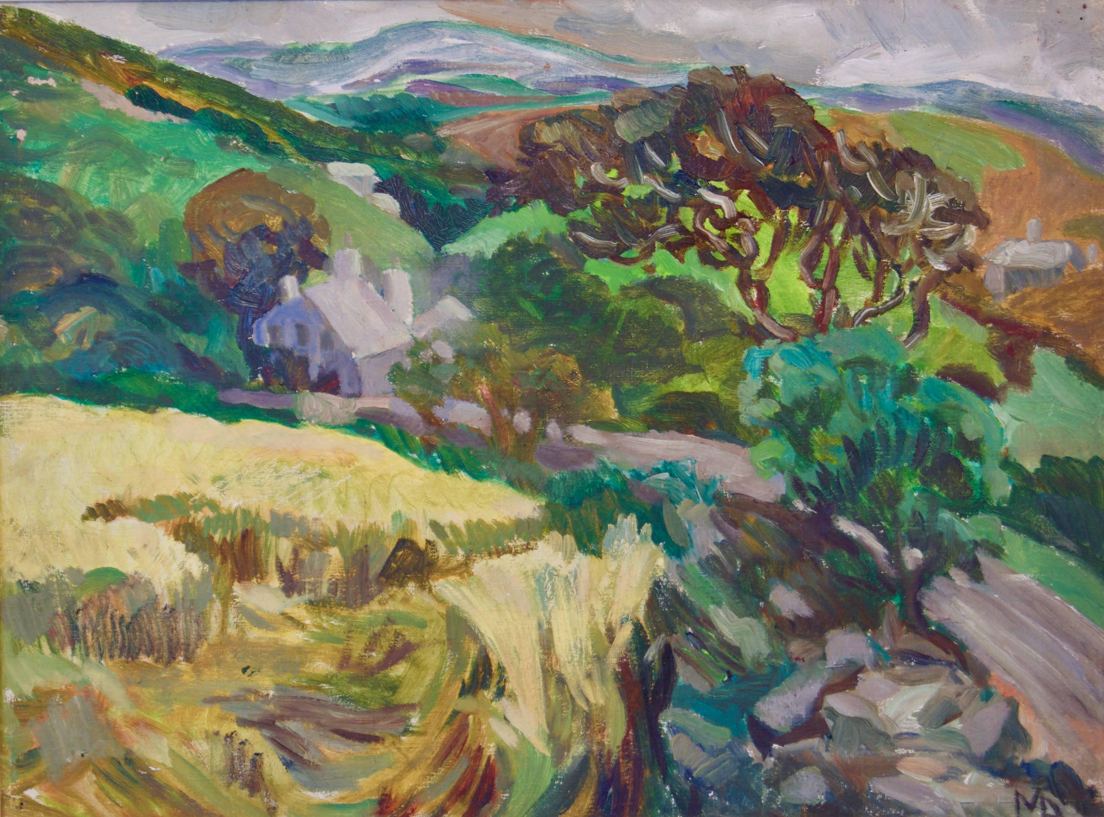 Provence France Landscape - Early 20th Century Impressionist Oil - Muriel Archer