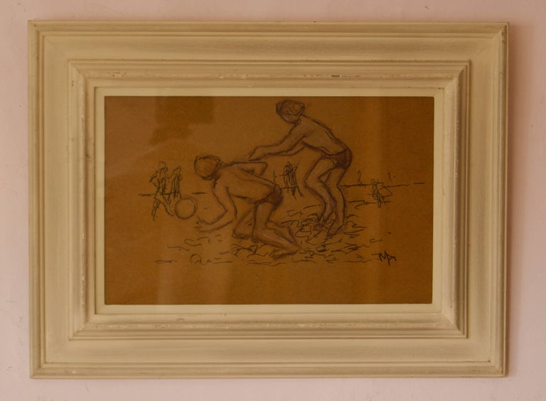 Summer Holiday - Late 20th Century of Kids on the Beach by Muriel Archer For Sale 1