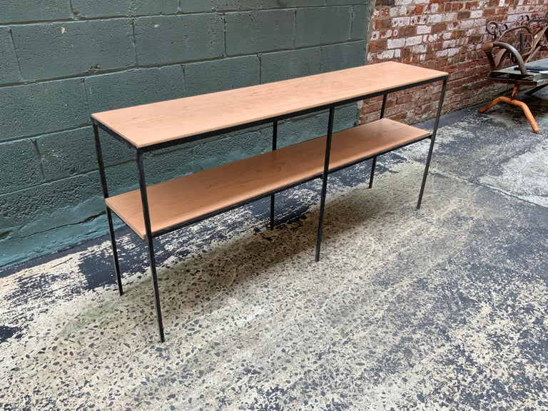 Free standing square iron rod with solid cherry shelving or room divider in the manner of Muriel Coleman for Pacific Iron or Vista. Beautiful grain in a natural finish, circa 1950-1960.  Measures: 13