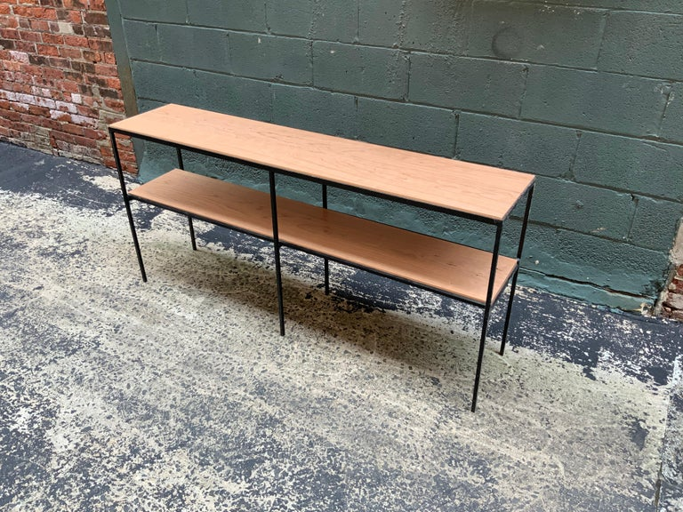 Mid-Century Modern Muriel Coleman California Modern Style Iron and Cherry Shelving Unit For Sale
