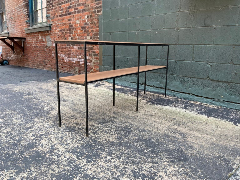 American Muriel Coleman California Modern Style Iron and Cherry Shelving Unit For Sale