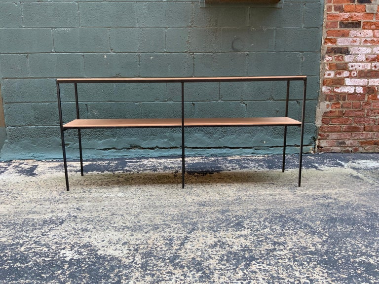 Muriel Coleman California Modern Style Iron and Cherry Shelving Unit In Good Condition For Sale In Garnerville, NY