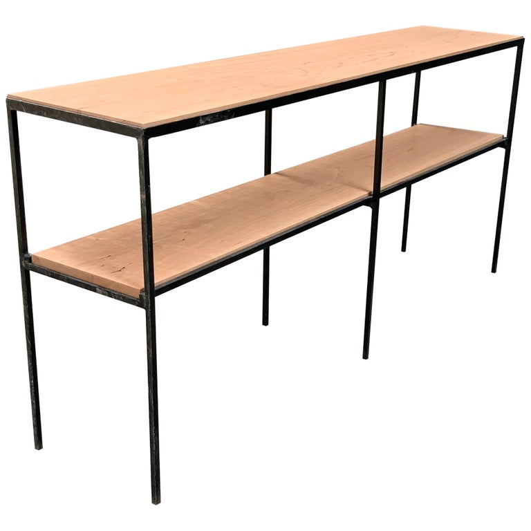 Muriel Coleman California Modern Style Iron and Cherry Shelving Unit For Sale